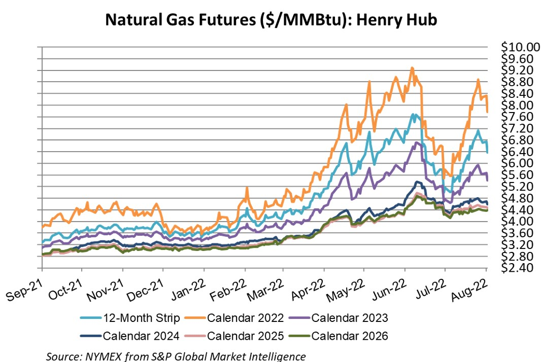 Gas Futures Graph